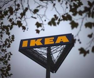 In this Nov. 16, 2012 file photo, a sign bearing the Ikea logo is seen outside a store in Berlin.