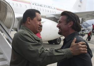 Hugo Chavez greets Sean Penn in Cumana, Venezuela, Sunday, Oct. 19, 2008.