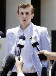 James O'Keefe makes a statement after leaving the federal courthouse in New Orleans, Wednesday, May 26, 2010.