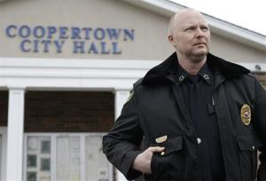 This Feb. 13, 2013 photo shows Coopertown, Tenn., Police Chief Shane Sullivan at the Coopertown City Hall.