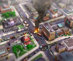 In this image released by Electronic Arts/Maxis, a concept art image of an accident scene in an urban area is shown as concept art for the video game SimCity.