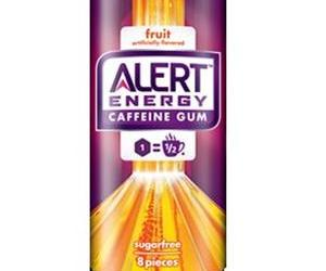 This promotional image shows the packaging for the fruit flavor of Alert.
