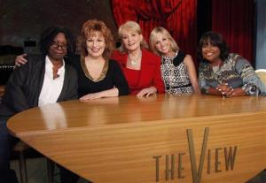 From left, Whoopi Goldberg, Joy Behar, Barbara Walters, Elisabeth Hasselbeck, and Sherri Shepherd on the set of 'The View.'