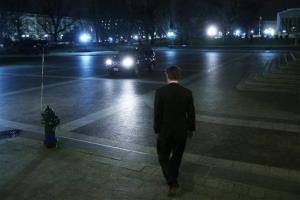 Sen. Rand Paul, R-Ky., walks to a waiting vehicle as he leaves the Capitol after his filibuster.