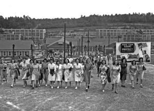 Shift change at the Y-12 uranium enrichment facility in Oak Ridge, Tenn., during the Manhattan Project.