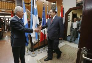 US Secretary of Defense Chuck Hagel, left, meets with Afghanistan's Interior Minister Ghulam Mujtaba Patang at ISAF headquarters in Kabul, Sunday, March 10, 2013.