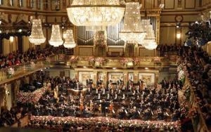 General view of the the traditional New Year's concert of the Vienna Philharmonic Orchestra at the Golden Hall of the Musikverein in Vienna, Austria, Tuesday, Jan. 1, 2013.