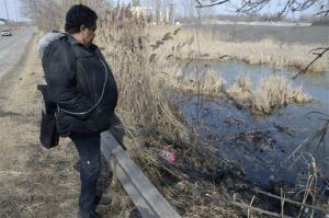 Carol Trimble of Warren, a family member of the victims, views the pond along Pine Avenue SE in Warren, Ohio where police say six teens were killed in the crash, Sunday, March 10, 2013.