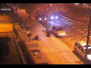 The shooting was captured by surveillance cameras.