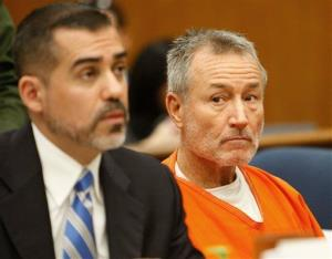 In this Feb. 21, 2012 file photo, Mark Berndt, right, looks to his attorney, Victor Acevedo, during his arraignment in Los Angeles Municipal Court Metropolitan Branch.