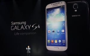 JK Shin of Samsung presents the new Galaxy S 4 at Radio City Music Hall Thursday.