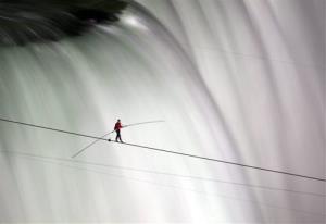 Nik Wallenda walks over Niagara Falls on a tightrope, June 15, 2012.