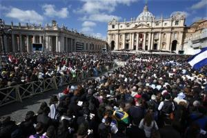 Crowds gather in St. Peter's Square for the  inauguration Mass for Pope Francis at the Vatican.
