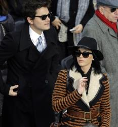 John Mayer and Katy Perry arrive for the ceremonial swearing-in of President Barack Obama at the US Capitol during the 57th Presidential Inauguration in Washington, Monday, Jan. 21, 2013.