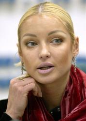 In this file photo taken on Monday, Dec.  1, 2003, Russian Ballerina Anastasia Volochkova speaks at a news conference in Moscow, Russia.