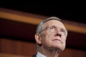 Senate Majority Leader Harry Reid speaks with reporters about the federal budget on Capitol Hill last week.