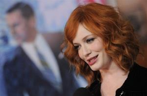 Christina Hendricks, a cast member in Mad Men, is interviewed at the season six premiere of the drama series at the Directors Guild of America on Wednesday, March 20, 2013 in Los Angeles.