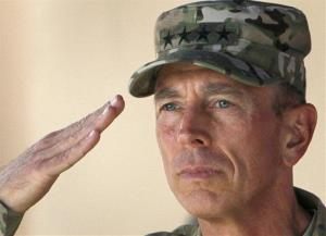 In this July 18, 2011 photo, Gen. David Petraeus salutes during a changing of command ceremony in  Kabul, Afghanistan.