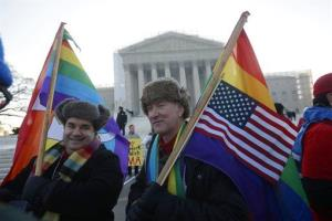 Marcus, left, and Daniel  German-Dominguez stand outside the Supreme Court in Washington, Tuesday, March 26, 2013, before the court's hearing on California's voter approved ban on same-sex marriage.