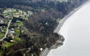 An aerial photo shows a landslide near Coupeville, Wash. on Whidbey Island, Wednesday, March 27, 2013.