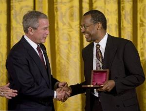 President Bush presents the Lincoln Medal to Dr. Benjamin Carson, a renowned pediatric neurosurgeon at Johns Hopkins Children's Center in Baltimore, in 2008.