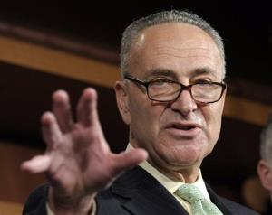 In this May 17, 2012 file photo, Sen. Charles Schumer, D-N.Y. gestures during a news conference on Capitol Hill in Washington..