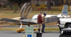 This screen grab from a WRCB-TV report shows the plane that ejected the student pilot.