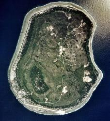 A satellite view of Nauru.