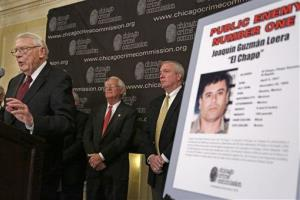 In this Feb. 14, 2013 photo, Art Bilek, executive VP of the Chicago Crime Commission, announces that Joaquin El Chapo'' Guzman, a drug kingpin in Mexico, has been named Chicago's Public Enemy No. 1.