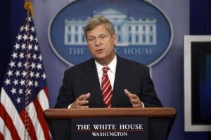 In this July 18, 2012, file photo, Agriculture Secretary Tom Vilsack talks about the drought during a press briefing at the White House in Washington.