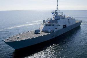 This July 28, 2008 file photo provided by Lockheed-Martin via the US Navy shows USS Freedom, the first ship in the Navy's Littoral Combat Ship (LCS) class,  from Marietta, Wis.