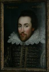 This is a  Monday March 9, 2009 file of a then newly discovered portrait of William Shakespeare, presented by the Shakespeare Birthplace trust, as seen in central London.