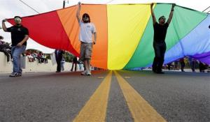 A group carries a rainbow flag as they take part in a march honoring Martin Luther King Jr., Monday, Jan. 21, 2013, in San Antonio.