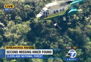 This video image provided by KABC-TV shows the air rescue of Kyndall Jack, 18, who was hoisted out of Cleveland National Forest, California.