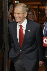 Sen. Bill Nelson, D-Fla., arrives at his reelection party in Orlando on Nov. 6, 2012.