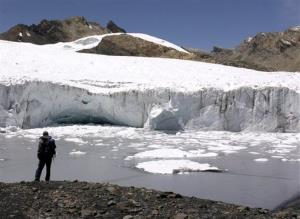 The Pastoruri glacier from the Cordillera Blanca, or White Mountain Range in Huaraz, Peru, from Nov. 4, 2006. Another ice cap in Peru, Quelccaya, has seen massive melting over the past 25 years.