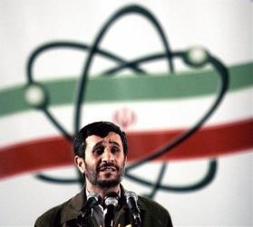 Iranian President Mahmoud Ahmadinejad speaks at a ceremony in Iran's nuclear enrichment facility.