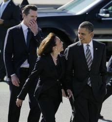In this February 2012 file photo, President Obama walks with California Attorney General Kamala Harris and California Lt. Gov. Gavin Newsom, after arriving at San Francisco International Airport.
