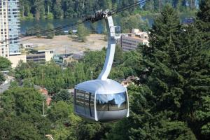An aerial tram in Portland, Oregon.