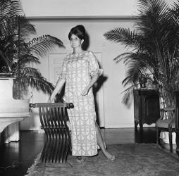 In this March 16, 1965 file photo, Palm Beach the fashion designer Lilly Pulitzer, wears her own design and creation of the Lilly shift, in Palm Beach, Fla. Pulitzer died in Florida at 81.