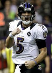 Baltimore Ravens quarterback Joe Flacco celebrates their touchdown against the San Francisco 49ers during the first half of the NFL Super Bowl XLVII football game, Feb. 3, 2013, in New Orleans.