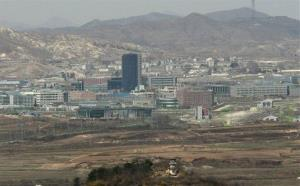 In this Wednesday, April 14, 2010 file photo, A North Korean guard post, bottom, placed near the North-South industrial complex in Kaesong, is seen from South Korea.