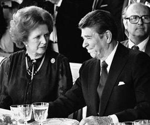 Ronald Reagan and Margaret Thatcher are seen having lunch, June 6, 1982 at the Palace of Versailles, France, following a summit.