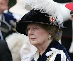 In this June 19, 2006 file photo, former British Prime Minister Margaret Thatcher leaves St. George's Chapel in Windsor, near London.