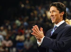 Joel Osteen preaches during a worship service at Lakewood Church.