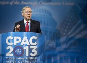 Senate Minority Leader Mitch McConnell of Ky. gestures as he speaks at the 40th annual Conservative Political Action Conference in National Harbor, Md., Friday, March 15, 2013.
