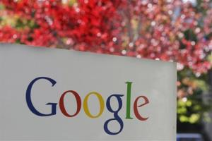 The company logo is displayed is at Google headquarters in Mountain View, Calif.