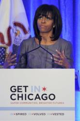 First lady Michelle Obama speaks about 15-year-old Hadiya Pendleton in Chicago.