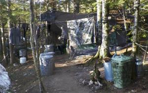This photo released Wednesday, April 10, 2013  shows a camp in a remote, section of Rome, Maine, where authorities believe Christopher Knight lived like a hermit for decades.
