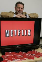 Netflix CEO Reed Hastings posing for a photo at Netflix headquarters in Los Gatos, Calif, July 25, 2008.